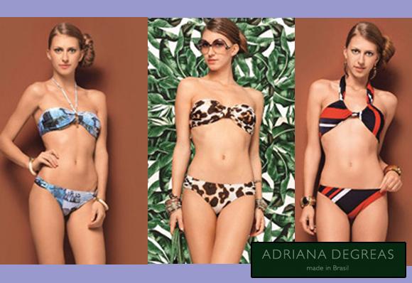Três modelos de biquínis da coleção da marca Adriana Degreas
