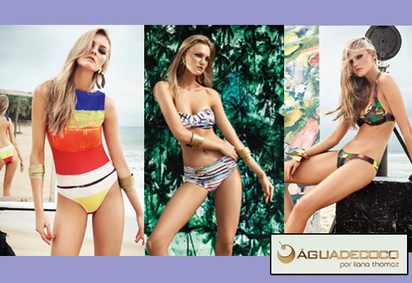 Três modelos de biquínis da coleção da marca Água de Coco