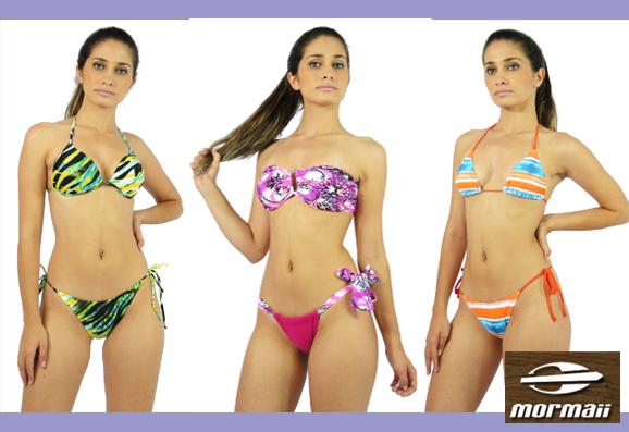 Três modelos de biquínis da coleção da marca Mormaii
